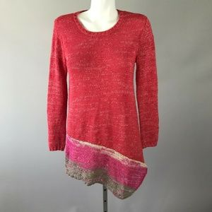 Soft Surroundings Coral Long Sleeve Knit Sweater